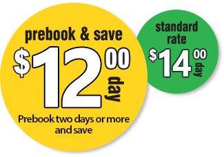 Prebook and save off our standard rates